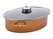 Tavë Ovale + Kapak me dorezë aromatizuese Stone Legend CopperLUX